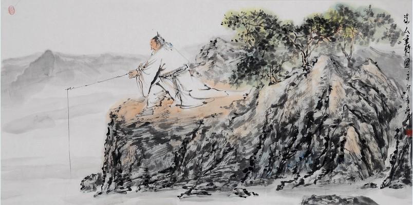 祁海峰 垂钓图